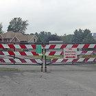 A gate closing off through traffic on Empire Avenue